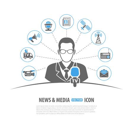 medios de comunicaci�n social: Medios y Noticias Vector Concepto con Icono de conjunto en dos colores, como periodista Micr�fono Peri�dico C�mara sat�lite Meg�fono, pueden ser utilizados para folleto, cartel, del Sitio Web