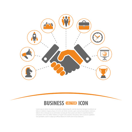 a collection of awards icon: Business Strategy Concept with Icon set in two color