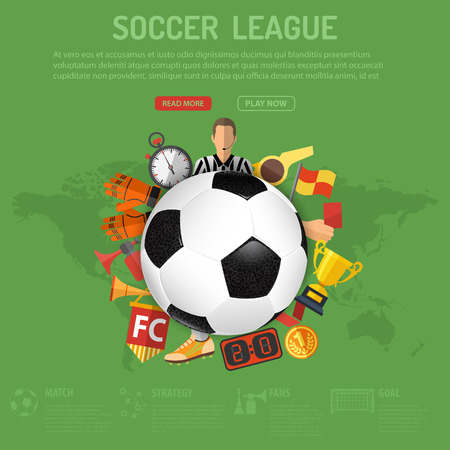 football trophy: Football Poster with Soccer Ball and Attributes Icons.
