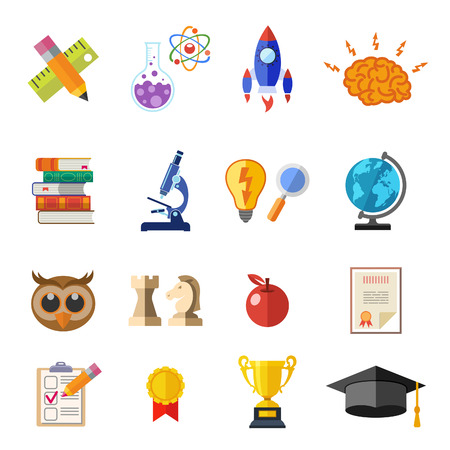 Online Education Flat Icon Set for Flyer, Poster, Web Site Like mortarboard, books, brain and trophy Illustration