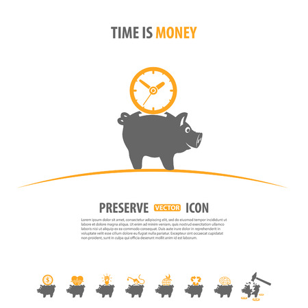 preserve: Preserve, Save, Conservation Vector Concept with Icon set in two color such as Piggy Bank, Money, Time may be used for Flyer, Poster, Web Site Illustration