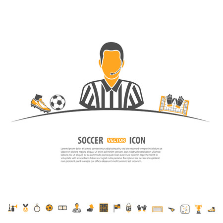 vuvuzela: Soccer and Football vector concept with Set Icons such as Referee and Ball for Flyer, Poster, Web Site