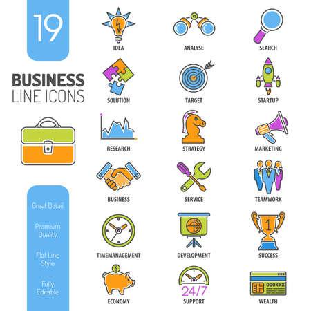 chess knight: Negocios Delgado L�neas de color Web Icon Set para el folleto, cartel, del Sitio Web Como Finanzas, Estrategia, Idea, Investigaci�n, Trabajo en equipo, �xito Vectores