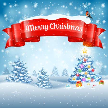 sottofondo: Sfondo di Natale con albero, regali, Ribbon, fiocchi di neve e Ciuffolotto su sfondo innevato. Modello di vettore per la copertura, Flyer, Brochure, Cartolina di auguri. Vettoriali