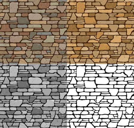 Set 4 naadloze grunge stenen muur textuur met verschillende varianten van kleur. Vector Illustratie. Stock Illustratie