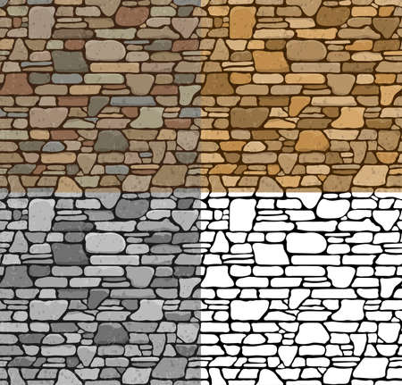 set in stone: Set 4 Seamless Grunge Stone Brick Wall Texture with various variants of color. Vector Illustration.