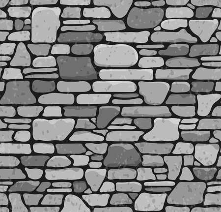 rock: Seamless Grunge Stone Brick Wall Texture. Vector Illustration.