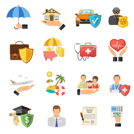 car icons: Insurance Flat Icons Set for Poster, Web Site, Advertising like House, Car, Medical and Business . Illustration