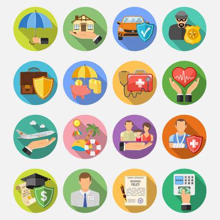 醫療保健: 保險扁圓形圖標設置了帶長影的海報,網站,廣告像房子,汽車,醫療和商業。