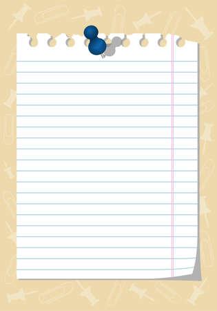Torn notebook paper with thumbtack, element for design,   illustration Illustration