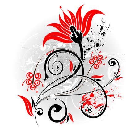 element for design: Grunge floral background with blot, element for design,  illustration