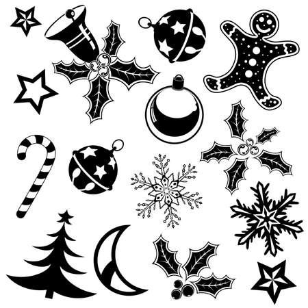 muerdago: Recoger el elemento de Navidad con la campana, pastel, caramelos, �rbol, elemento de dise�o, ilustraci�n  Vectores