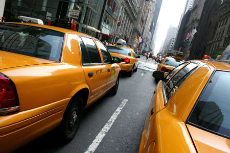 public transfer: Taxis  Cabs in the streets of New York City