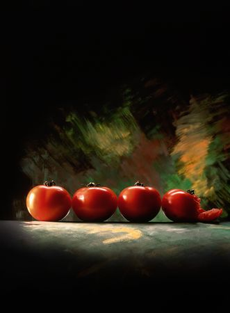 four tomatoes with balck background. one tomato is squished. professional studio photography photo