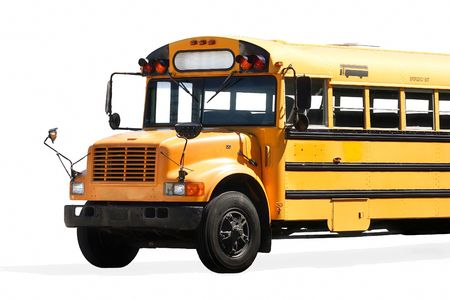 yellow schoolbus: School bus isolated on white
