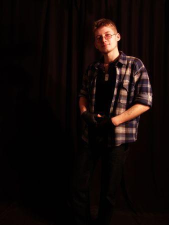 unruffled: standing teenager Stock Photo