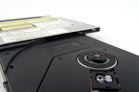 macro of opened laptop cddvd drive photo