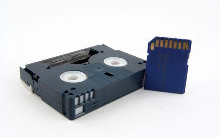 SD card and miniDV cassette