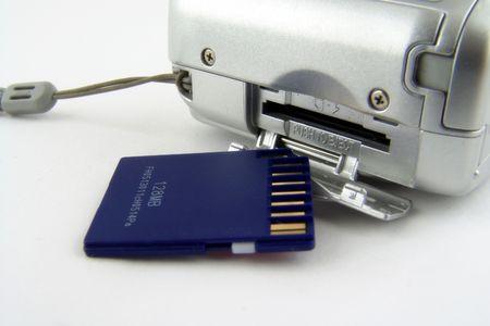 secure backup: SD slot in digital camera Stock Photo