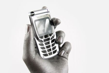 voicemail: mobile phone in silver arm Stock Photo