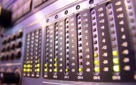 compiler: light-emitting diode on mixer console Stock Photo
