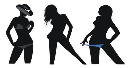 beauty contest: womans silhouette -  good for use in party postcards, posters and etc. Stock Photo