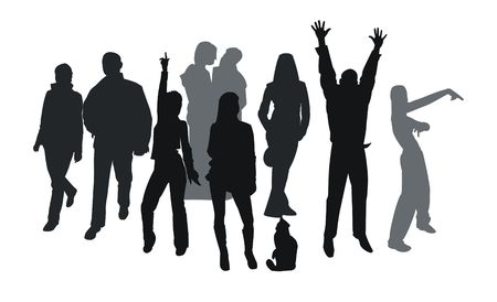 Silhouettes of young people isolated on white. Good use for party tickets, cards and posters photo