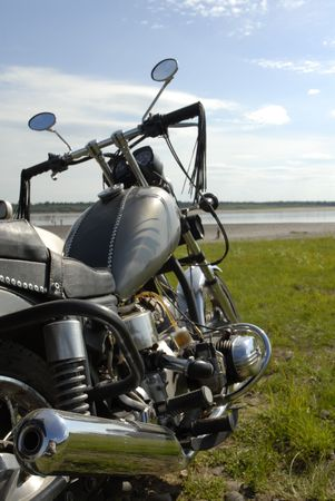 bike against a background of beach photo