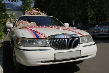 white wedding limousine Stock Photo