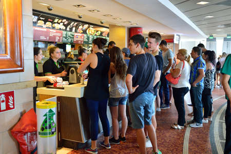 mcdonalds: NICE, FRANCE - AUGUST 15, 2015: McDonalds restaurant interior. McDonalds is the worlds largest chain of hamburger fast food restaurants, founded in the United States.
