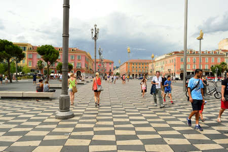alpes maritimes: NICE, FRANCE - AUGUST 15, 2015: Nice streets. Nice is the fifth most populous city in France, after Paris, Marseille, Lyon and Toulouse, and it is the capital of the Alpes Maritimes departement