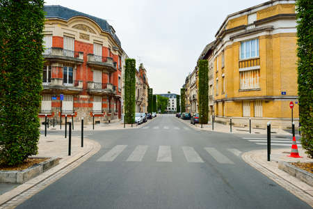 urban road: ORLEANS, FRANCE - AUGUST 11, 2015: streets of Orleans. Orleans is a city in north-central France, about 111 kilometres southwest of Paris. It is the capital of the Loiret department and of the Centre-Val de Loire region.
