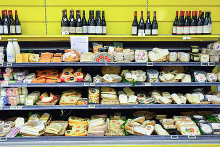 eventually: BEGLES, FRANCE - AUGUST 13, 2015: Simply Market supermarket interior. Simply Market is a brand of French supermarkets formed in 2005. This brand is a new concept to eventually replace Atac supermarkets Editorial