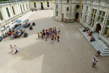 french renaissance: CHAMBORD, FRANCE - AUGUST 12, 2015: people visit Chateau de Chambord. Chateau de Chambord is royal medieval french castle. Unesco World heritage site.