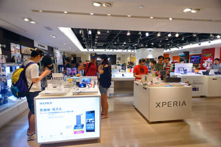 electronics store: HONG KONG - MAY 17, 2015: shopping center interior. In Hong Kong a wide selection of clothing boutiques, designer flagship stores, restaurants, daily shows and exhibitions Editorial