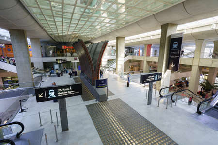 centres: PARIS - SEPTEMBER 10, 2014: Charles de Gaulle Airport interior. Paris Charles de Gaulle Airport is one of the worlds principal aviation centres, as well as Frances largest international airport.