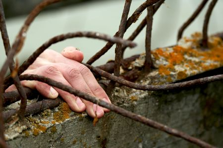 The hand of the man which wants freedom. Stock Photo - 919645