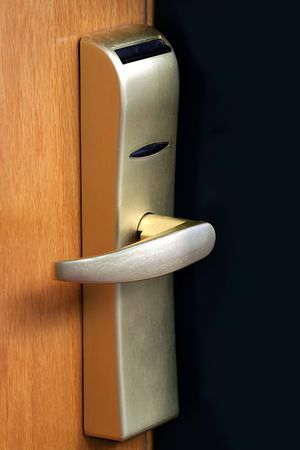 The door handle. Opens by a plastic card Stock Photo