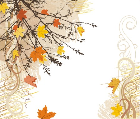 a twig: autumn vector bacground  corner