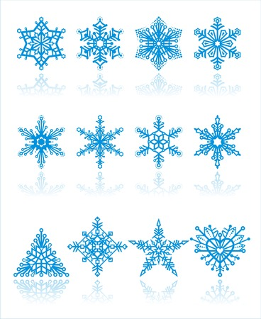 christmas snowflakes   vector  background.The traditional and unique forms snowflakes: a triangle, rhombus, star and form of heart