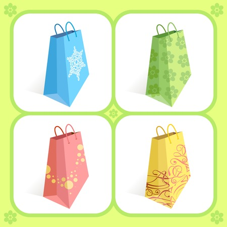 Shopping bags in different colours Vector