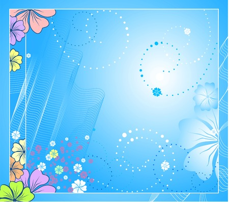 there: Vector floral background. Beautiful flowers and there is a lot of free space