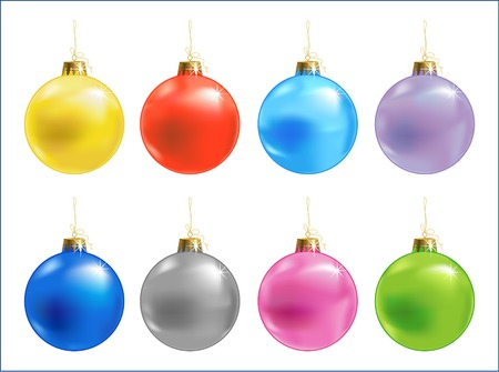 Eight color different vector xmas ball, vector illustration Illustration