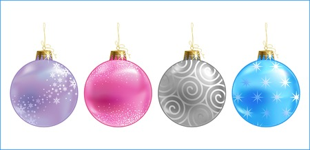 christmas colour & ornate balls Illustration