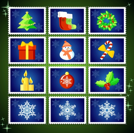 Vector Christmas Stamp Collection  blue set Vector