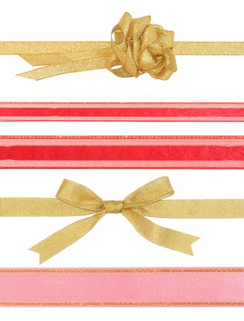 Celebratory and Christmas ribbons with bow isolated on white background Stock Photo