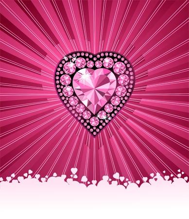 coeur diamant: HEART OF LOVE  Diamond coeur  vecteur de fond avec de l'espace pour votre texte