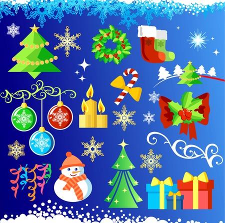 Big set elements for Christmas design & background  vector   Vector