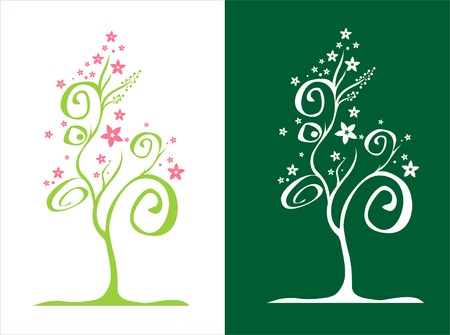 two stylised trees  with flowers  vector illustration
