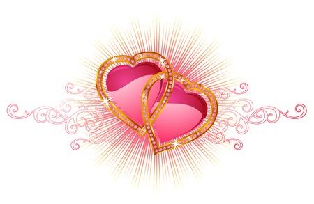 heart diamond: Two  love hearts   valentine and wedding   vector Illustration